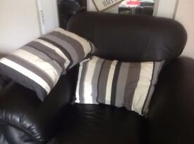 Modern striped black white grey cushions x 2