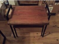 Nest of 2 tables acacia solid wood and metal industrial very heavy new