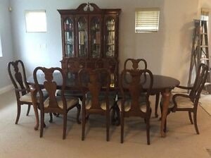 REDUCED PRICE!! Dining Set with 8 Chairs, China Cabinet, Leafs