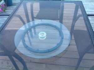 Glass lazy susan for a  patio table