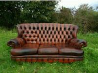 Vintage Chesterfield Monks Sofa Cigar Tan *Rare*