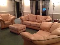 Salmon pink 3 + 2 + arm chair and footstool cost £5500 new