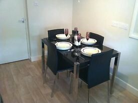 Black High Gloss with chrome legs Dining Set (4 chairs) - £150