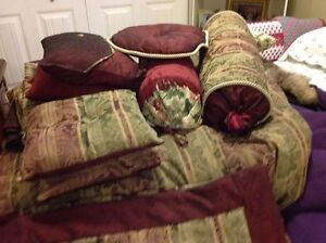 THREE QUEEN SIZE DUVET COVERS, CURTAINS, THROW PILLOWS