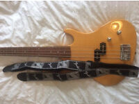 Washburn bass guitar with practice amp, Fender strap and gig bag