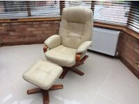 Faux Reclining Swivel Chair And Foot Stool In Cream - 2 available but will sell separately