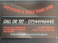 Mobile disco/dj hire (lights and effects included)