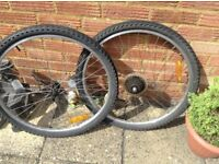 Pair of mountain bike wheels with tyres
