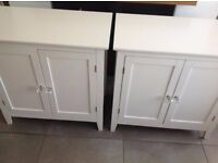2 white cupboards / sideboards with crystal handles