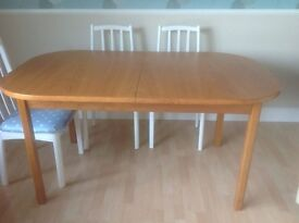 Dining room table and 3 white painted chairs