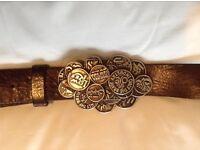 Genuine DIESEL brown leather belt with large buckle