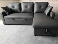 ⭐ BRAND NEW FABRIC CORNER SOFA BED WITH OTTOMAN STORAGE GREY COLOR SOFABED L SHAPE💕