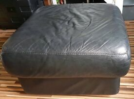Sturdy DFS Poof, real black leather