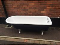 Beautiful Free Standing, Cast Iron Bath Tub, Navy, Silver feet