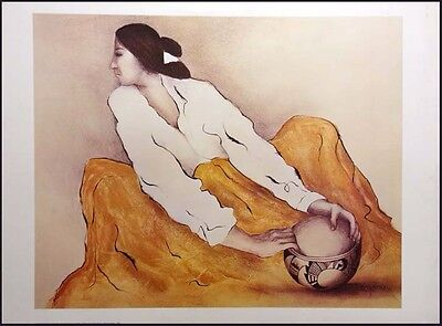 """R C Gorman Poster """"The Pottery Keeper"""" LARGE SIZE GALLERY Poster MAKE OFFER!"""
