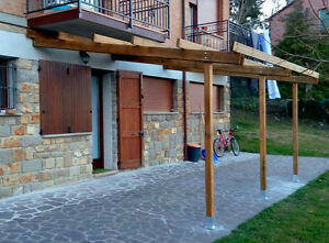 Pergola addossata 6x4 tettoia in legno impregnato for Pergola addossata in kit