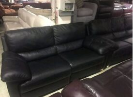 Black leather 3 & 2 seater sofa recliner