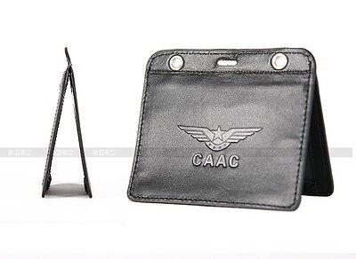 Id Card Holder Case Horizontal Three Deck Genuine Leather For Flight Crew
