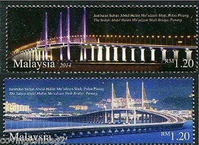 Second Penang Bridge set of 2 mnh stamps 2014 Malaysia