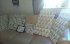 House Clearance , canvas's and homemade picture hangings ( 6 items)