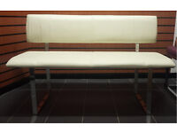 White PU leather Dining /salon retail waiting Bench
