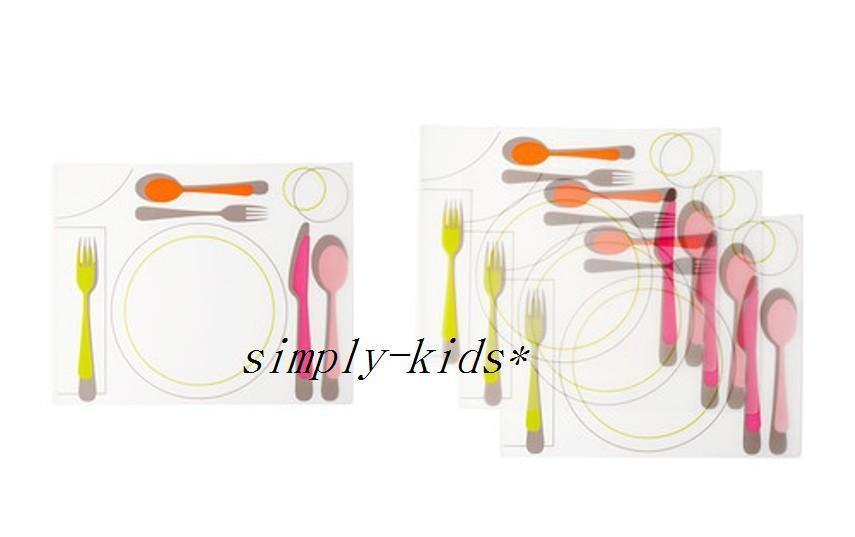 "4 IKEA Placemats Correct Settings KLISTRIG 11x14 "" Kids Tabl"