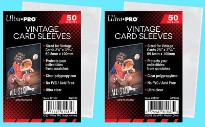 100 Ultra Pro VINTAGE Sports CARD SLEEVES NEW Topps Bowman 1952-56 Trading - Vintage Card Sleeves