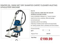 DRAPER 20L 1500W WET DRY SHAMPOO CARPET CLEANER VALETING MACHINE suction switch spray facility