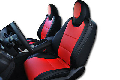 CHEVY CAMARO 2010-2014 BLACK/RED IGGEE S.LEATHER CUSTOM FIT FRONT SEAT COVER