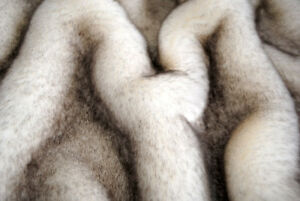 PREMIUM QUALITY FAUX FUR, WHITE WITH BROWN TIPS, SOLD BY METER