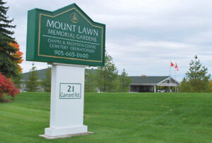 2 Cemetery plots at Mount Lawn Memorial Gardens, Whitby Ontario