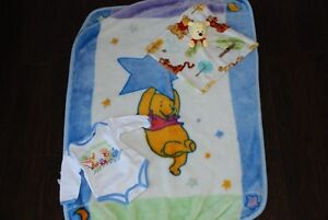 """Winnie the Pooh"" blanket, 6 month onesie & security blanket"