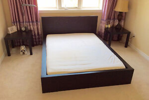 Queen Bed with Mattress and night stands $300 OBO Cambridge Kitchener Area image 1
