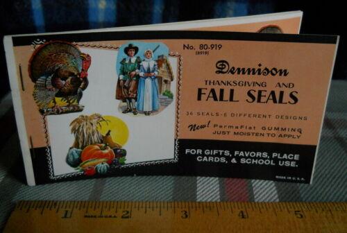 Vintage THANKSGIVING Seals Dennison Gummed 36 seals-6 different  in Booklet  NOS