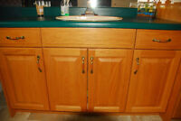 Oak Bathroom Cabinet, Countertop, Sink and Faucet