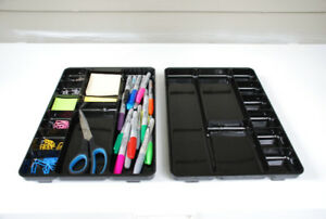 2 Organizer Trays For Office/Kitchen/Garage (black acrylic)