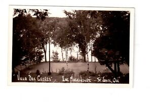 Carte postale photo ancienne Villa des Cèdres Lac Maskinongé.