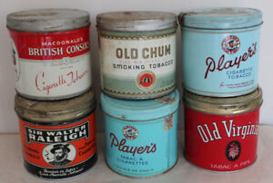 6 Tobacco Cigarette Tins - Players Old Chum Old Virginia tin can