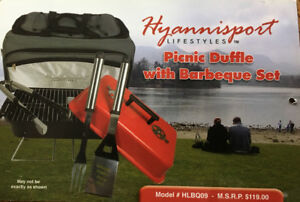 """Hyannisport """"Lifestyles"""" Picnic Duffle with Barbeque set - New,"""