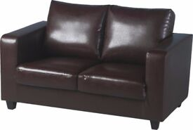 Excellent Quality Used 2 Seater Sofa Brown Faux Leather