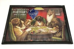Kitchener Huether's Blue Top Brewery Advertising Beer Sign Dogs