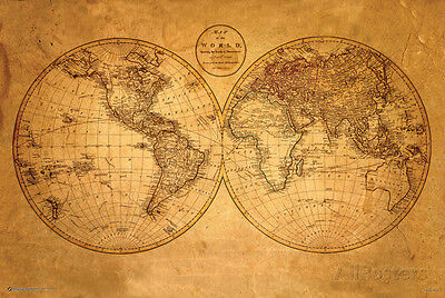 (Old World Map Poster Print, 36x24)