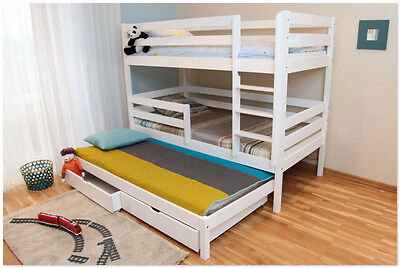 Wooden Chris Triple Bunk Bed  Best Quality Kids Children Beds 1 Mattress Free