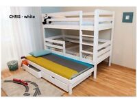 CHRIS WHITE BRAND NEW TRIPLE BUNK BED WHITE PINE WOOD STORAGE UNDER THE BED