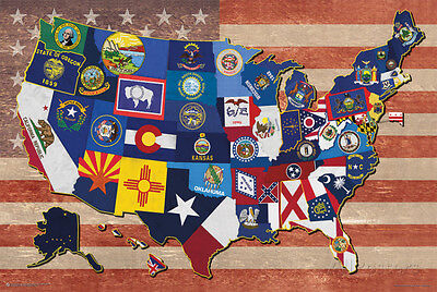 Map Of The Us State Flags Poster Print  36X24