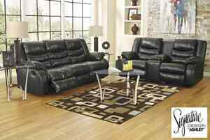 Brand NEW Linebacker Black Reclining Sofa! Call 902-595-1555!