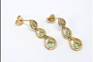 Professionally Appraised 10K gold Earring with diamond & Peridot