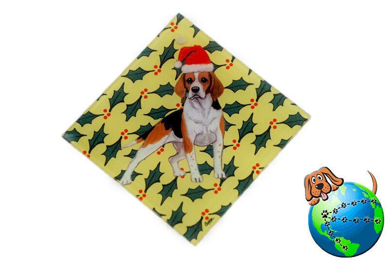Beagle Crystal Glass Christmas Ornament