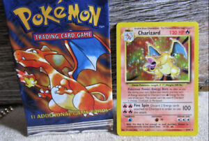 Charizard pokemon holo card 1999, with booster art empty
