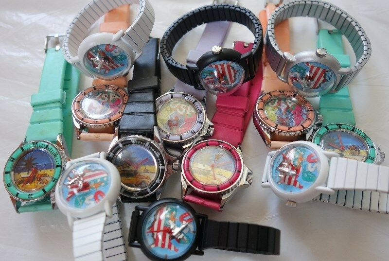 Wholesale set of 50 mechanical manual winding wrist watch, Swiss, Flying Plane, Sailing Boat, Toy